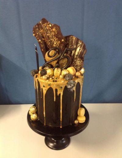 25th Gold Birthday Cake