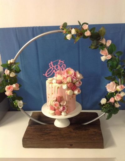 baby shower cake pink and white flowers