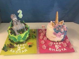 Dinosaur Birthday Cake & Unicorn Cake (made by Mackay Cakes)